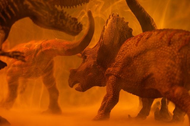 exposition de dinosaure avec un combat entre ces gigantesques animaux du Jurassic